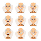 Set of an old man emotions simple flat design illustration grandpa vector. Stock Photos