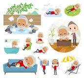 S. A set of old men about relaxing.There are actions such as vacation and stress relief.It`s vector art so it`s easy to edit stock illustration