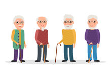 Set of old men wearing glasses and with canes. Stock Image