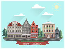 Set of the old Northern European buildings. Set of the cartoon houses. Stock Photo