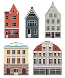 Set of the old Northern European buildings. Set of the cartoon houses. Royalty Free Stock Images