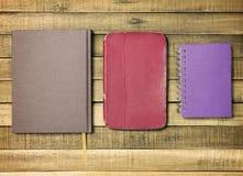 Set old notebook on wood background Stock Image