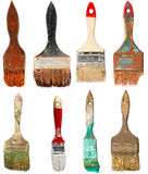 Set of old paint brushes. Isolated. On white background Royalty Free Stock Photography