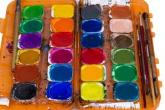 Set of old paints isolated on white background Royalty Free Stock Images