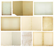 set of old paper isolated on white background , with clipping path Royalty Free Stock Photos