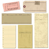 Set of Old paper objects Stock Images
