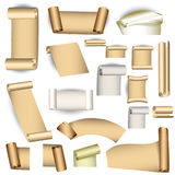 Set of old paper scrolls Royalty Free Stock Image