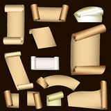 Set of old paper scrolls Royalty Free Stock Photos