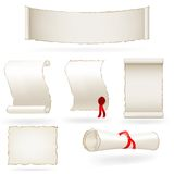 Set of old paper scrolls. Vector illustration Royalty Free Stock Photo