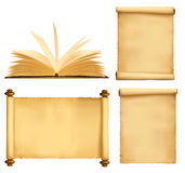 Set of old paper sheets and book. Vector Stock Photo