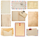 Set of old paper sheets, book, envelope, card Royalty Free Stock Images