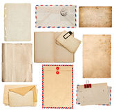 Set of old paper sheets, book, envelope, card Royalty Free Stock Image