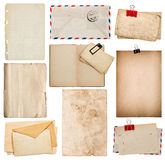 Set of old paper sheets, book, envelope, cardboard Stock Images