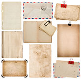 Set of old paper sheets, book, envelope, photo frame with corner Stock Photos