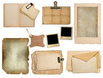 Set of old paper sheets, book, pages, cards Stock Photo
