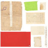 Set of old paper sheets and card Stock Image
