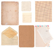 Set of old paper sheets, envelope and card Royalty Free Stock Photos