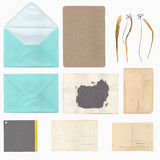 Set of old paper sheets, envelope and card Stock Image