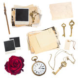 Set of old paper sheets, photos, antique clock. And keys isolated on white background stock images