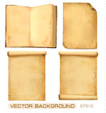 Set of old paper sheets. Vector. Stock Images