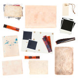 Set of  old paper sheets and vintage photos Royalty Free Stock Photography