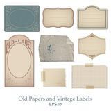 Set of old papers, stained, bent and spoiled and vintage labels vector illustration
