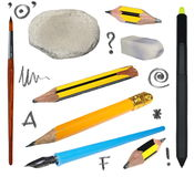 Set old pencil, erasers, brush, ink pen isolated on white Royalty Free Stock Photos