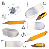 Set old pencil, erasers, isolated on white Stock Photography