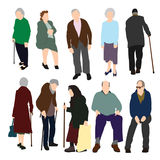 Set of Old People. Set of 10 old men and women color illustration Royalty Free Stock Images