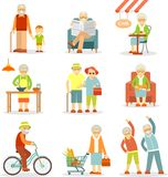Set of old people in different situations Stock Photos