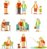 Set of old people in different situations Royalty Free Stock Photo