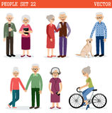 Set of the old people. Leading active lifestyle. Vector Stock Photos