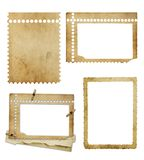 Set of old photo paper texture isolated Stock Photo