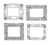 Set of old picture frames, hand drawn vector illustration. Royalty Free Stock Images