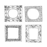 Set of old picture frames, hand drawn vector illustration. Stock Photography