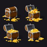 Set old pirate chests full of treasures, gold coins, ingots, jewelry, crown, dagger, vector, cartoon style, illustration. Set old pirate chests full of treasures royalty free illustration