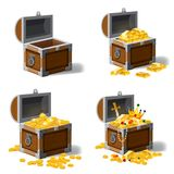 Set old pirate chests full of treasures, gold coins, ingots, jewelry, crown, dagger, vector, cartoon style, illustration. Set old pirate chests full of treasures vector illustration