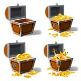Set old pirate chests full of treasures, gold coins, ingots, jewelry, crown, dagger, vector, cartoon style, illustration. Set old pirate chests full of treasures stock illustration