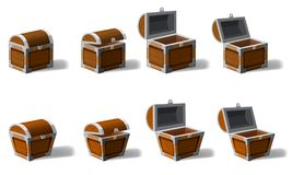 Set old pirate chests full of treasures, gold coins, vector, cartoon style, illustration, isolated. For games. Set old pirate chests full of treasures, gold royalty free illustration