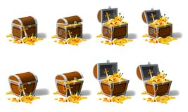 Set old pirate chests full of treasures, gold coins, vector, cartoon style, illustration, isolated. For games. Set old pirate chests full of treasures, gold Royalty Free Stock Photos