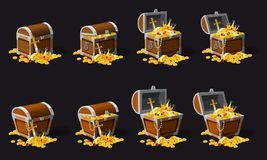 Set old pirate chests full of treasures, gold coins, vector, cartoon style, illustration, isolated. For games. Set old pirate chests full of treasures, gold vector illustration