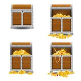 Set old pirate chests full of treasures, gold coins, vector, cartoon style, illustration, isolated. For games. Set old pirate chests full of treasures, gold stock illustration