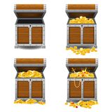 Set old pirate chests full of treasures, gold bars, gold coins, crown, dagger, vector, cartoon style, illustration. Set old pirate chests full of treasures, gold vector illustration