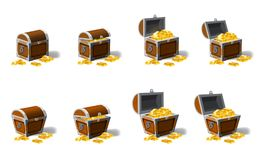 Set old pirate chests full of treasures, gold vector, cartoon style, illustration, isolated. For games, advertising. Set old pirate chests full of treasures royalty free illustration