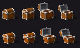 Set old pirate chests, vector, cartoon style, illustration, isolated. For games, advertising applications. Set old pirate chests, vector, cartoon style vector illustration