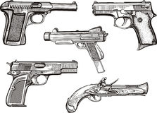 Set of old pistols Royalty Free Stock Photography