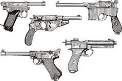 Set of old pistols Stock Photo