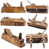 Set of old planers for wood isolated Stock Photos