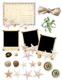 Set of old postcard, photos and starfishes Stock Images
