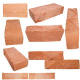 Set old red brick isolated on white Royalty Free Stock Photo